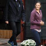The Crown Princess of Sweden with County Governor Göran Enander at Sågarbo herrgård